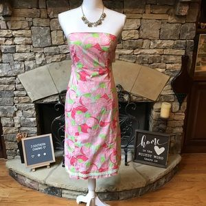 Lilly Pulitzer Peach Print Strapless Dress 2